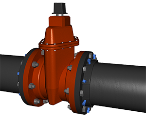 Series 1000 E-Z Flange Adapter on Ductile Iron Pipe